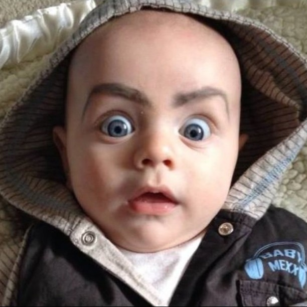 612x612 Eyebrows Drawn On Babies Create A Hilarious Instagram Trend 22 Words