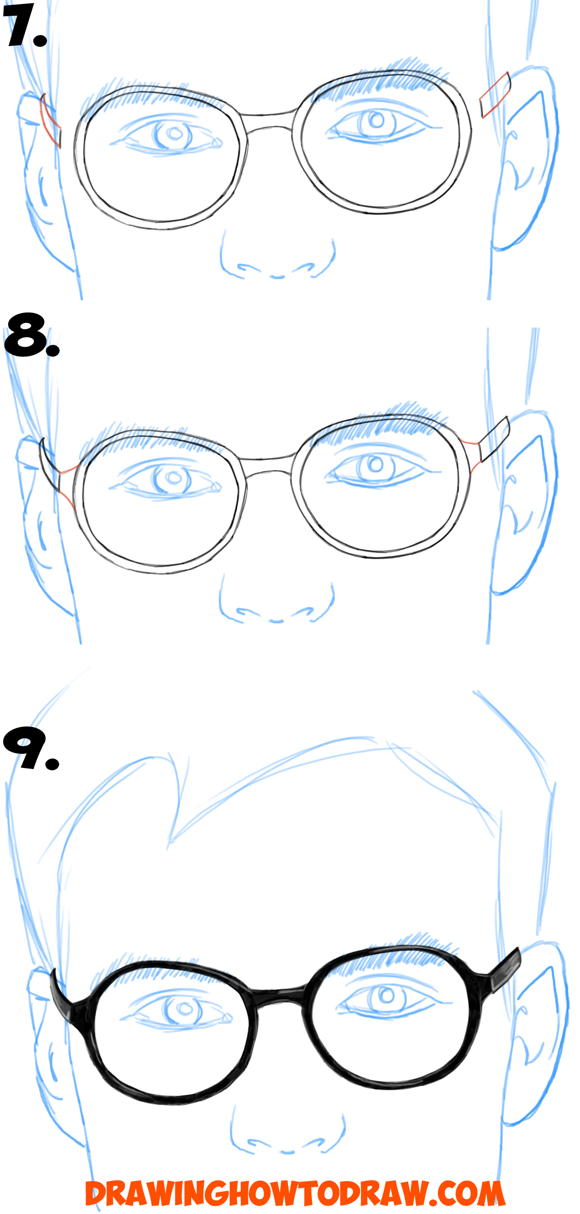 1147x2398 How To Draw Glasses On A Person's Face From All Angles (Side