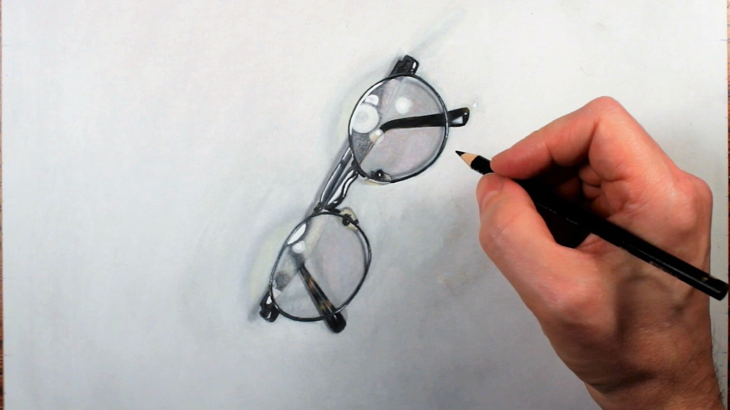 1428x803 Simple Eyeglasses Drawing With Colored Pencils. Photo Realistic