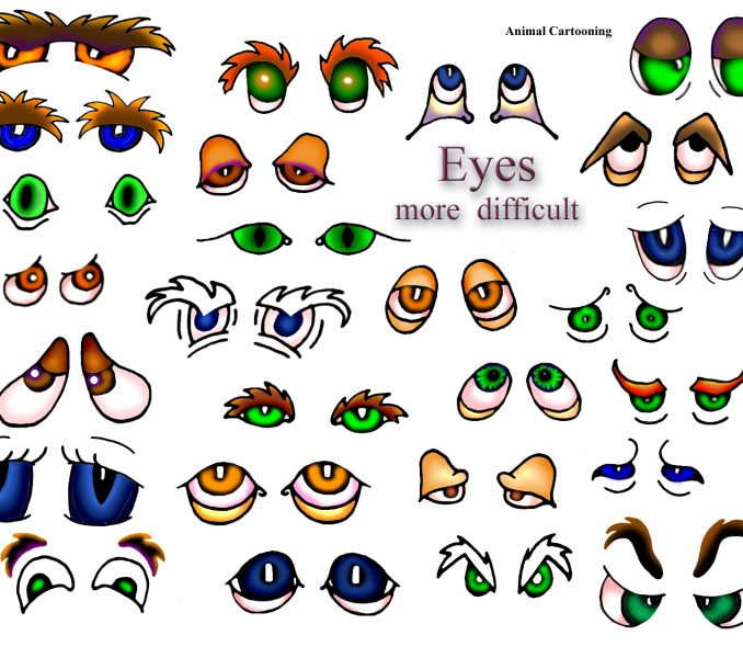 678x600 Cute Cartoon Animal Eyes Kids Coloring