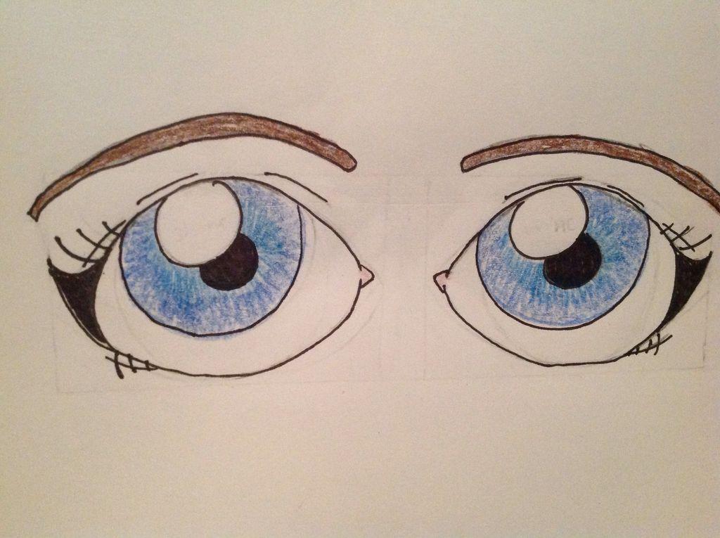 1024x765 How To Draw Cartoon Eyes 7 Steps