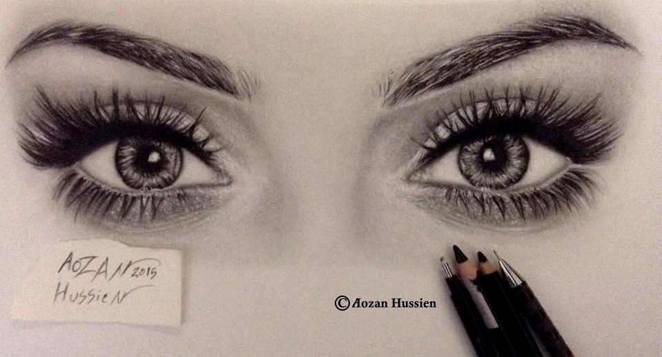 959x517 Pencil drawing of Huda#39s beauty eyes by Aozan Hussien Photo