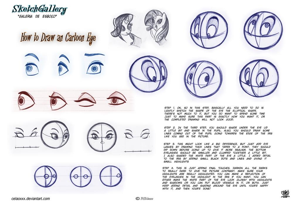 1000x692 How To Draw Cartoon Eye By Celaoxxx