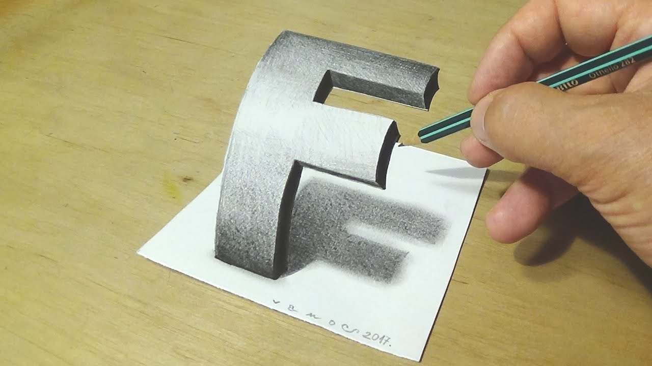 1280x720 How To Draw 3d Letter F