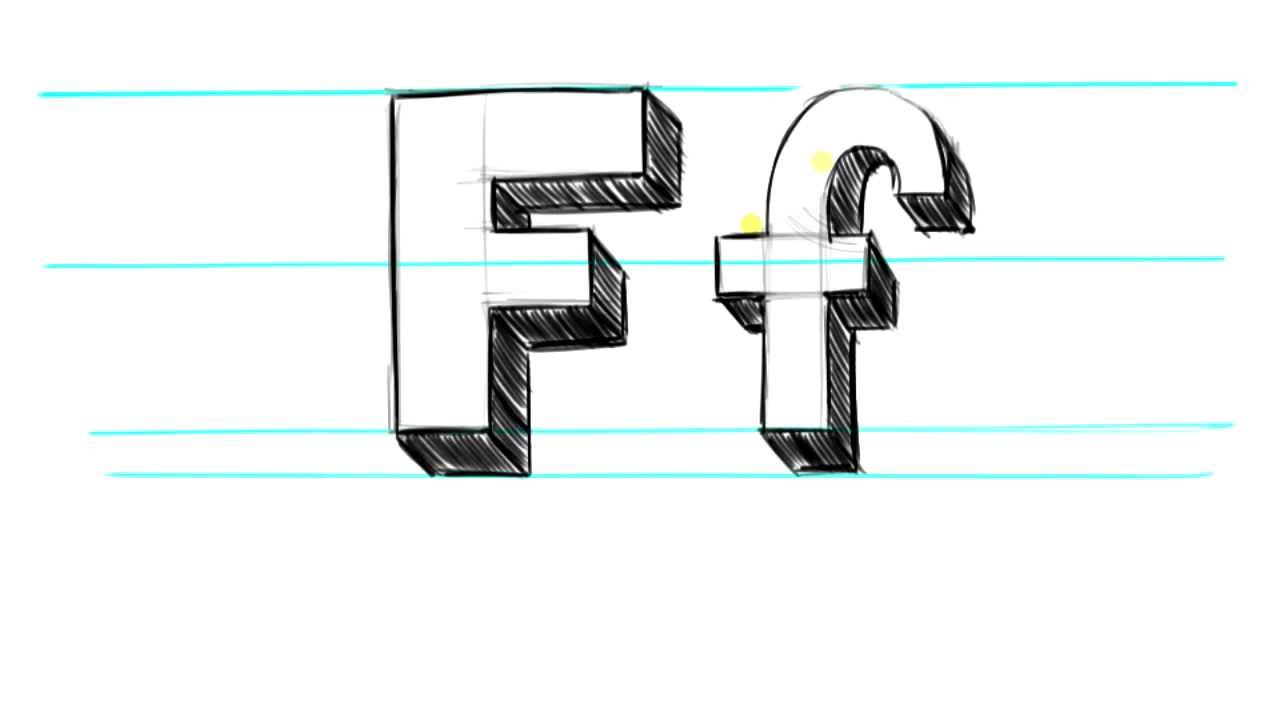 1280x720 How To Draw 3d Letters F