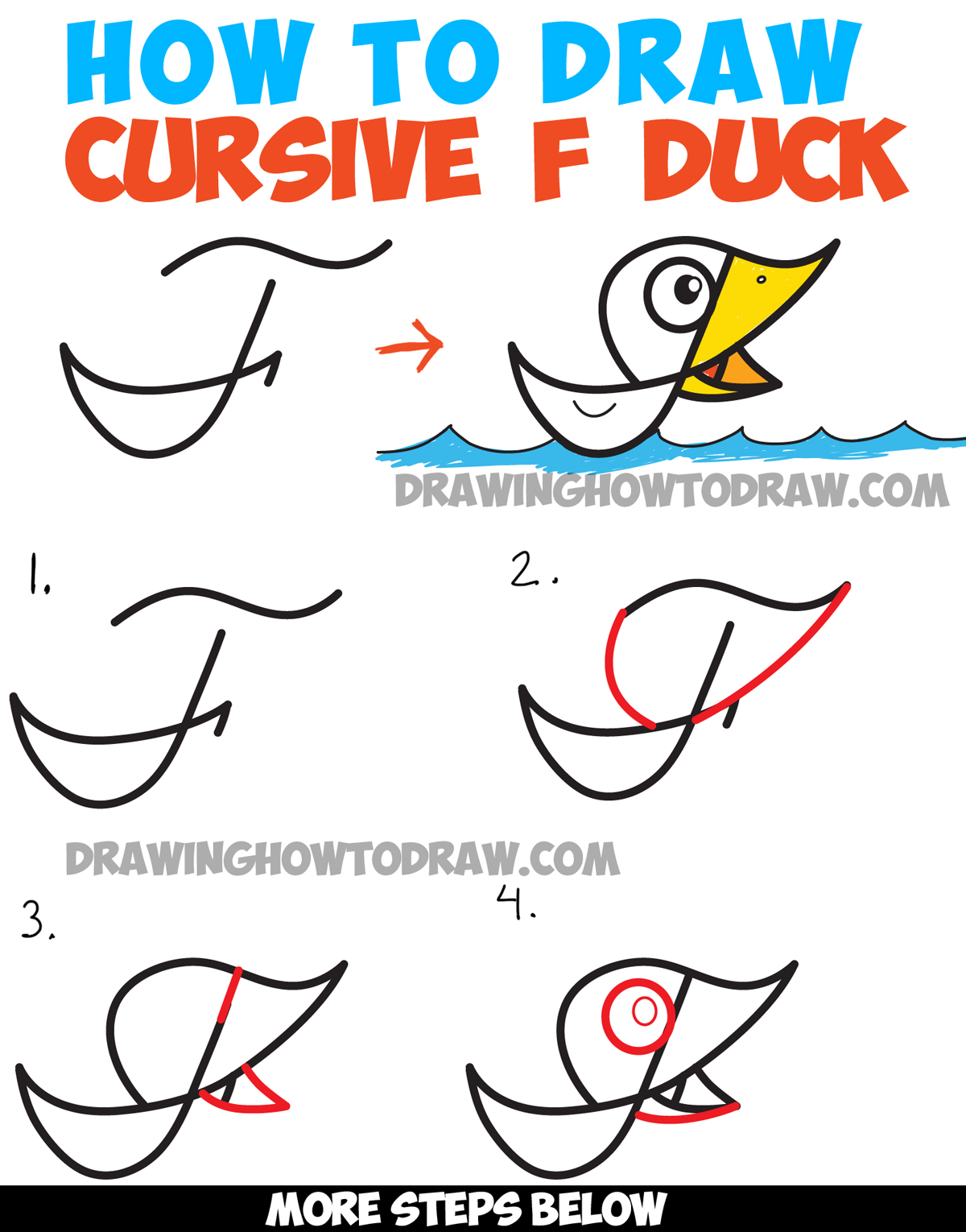 1200x1530 How To Draw Cartoon Duck On Water From Cursive Letter F