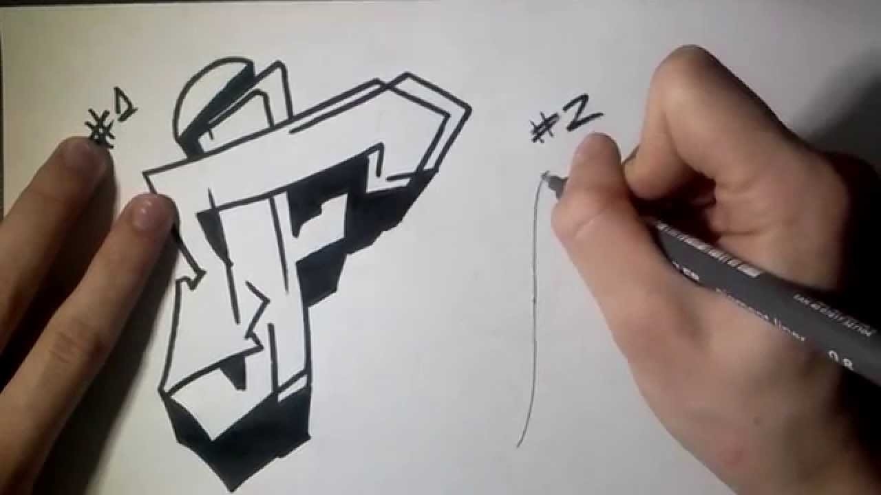 1280x720 How To Draw Graffiti Letter F On Paper