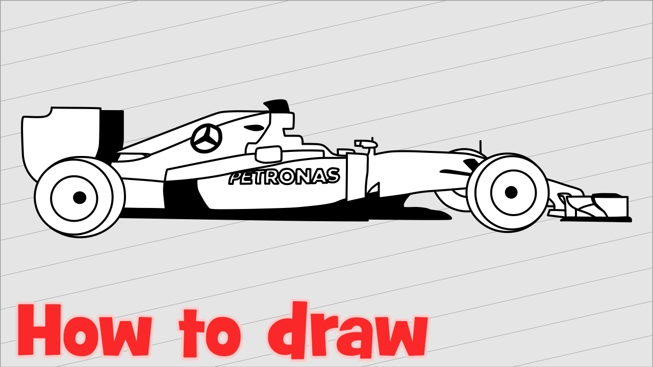 1280x720 Drawing F1 Car Mercedes AMG Petronas