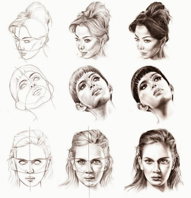 660x684 How To Draw A Female Portrait From Different Angles