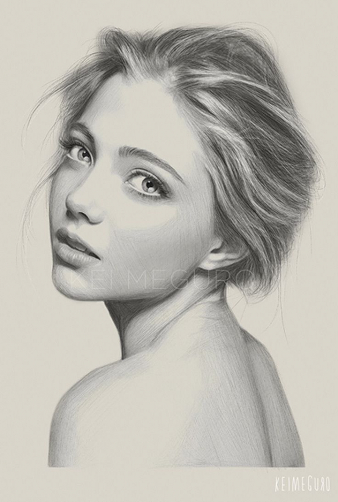 691x1024 Art Drawing Lady Face Images About Art On Cute