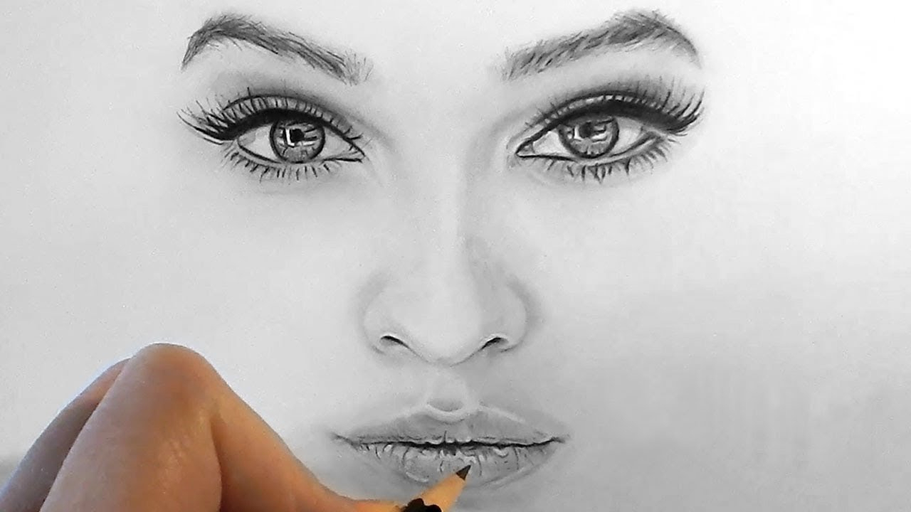 1280x720 Realistic Face Sketch Step By Step How To Draw, Shade Realistic