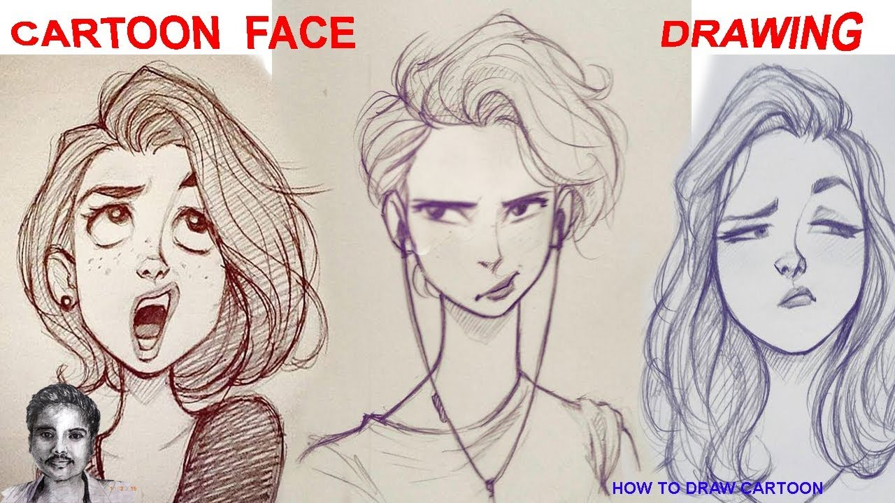 1280x720 Cartoon Face Drawing Funny Beautiful Girl