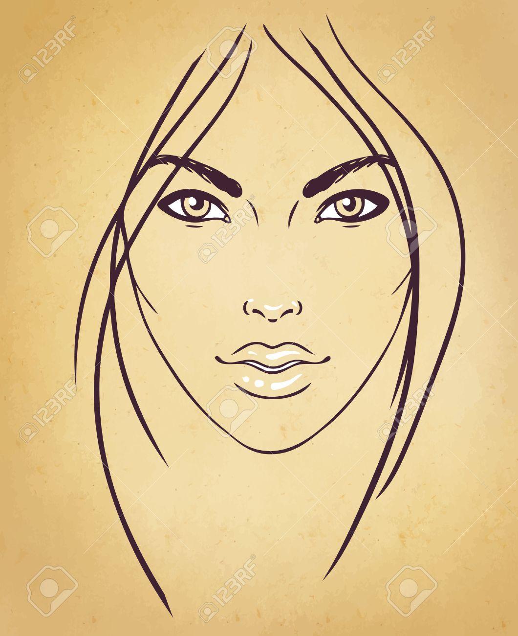 1060x1300 Face Chart Makeup Artist Blank. Template. Vector Illustration