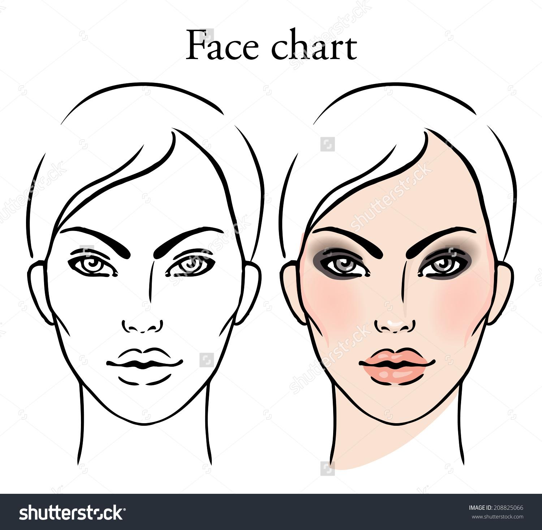 1500x1464 Makeup Face Template Chart Artist Blank