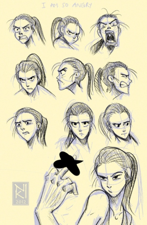600x918 40 Handy Facial Expression Drawing Charts For Practice Facial