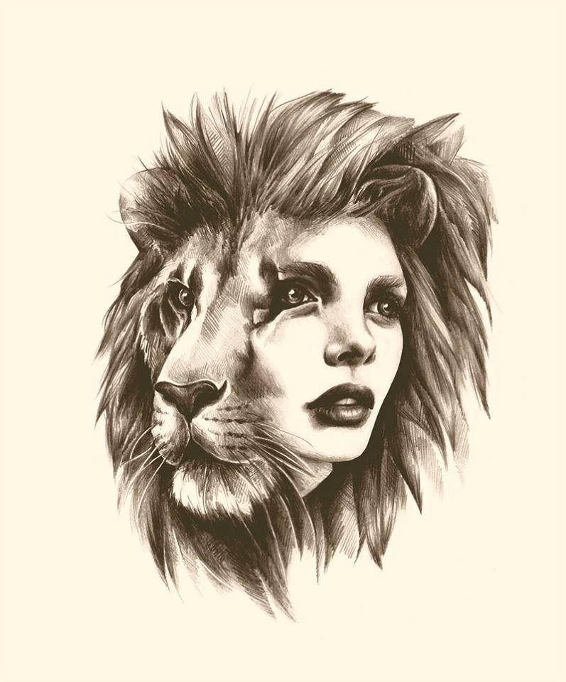 797x960 Lion Woman Face Great Tattoo Idea Drawing By Sarah Mccloskey