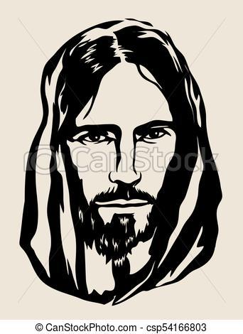 342x470 Jesus Face Silhouette, Art Vector Design Vector Clipart