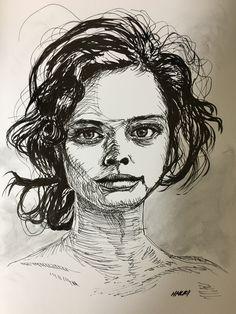 236x314 Perm Hair. Face Study. Fountain Pen Amp Brush Pen Drawing. My