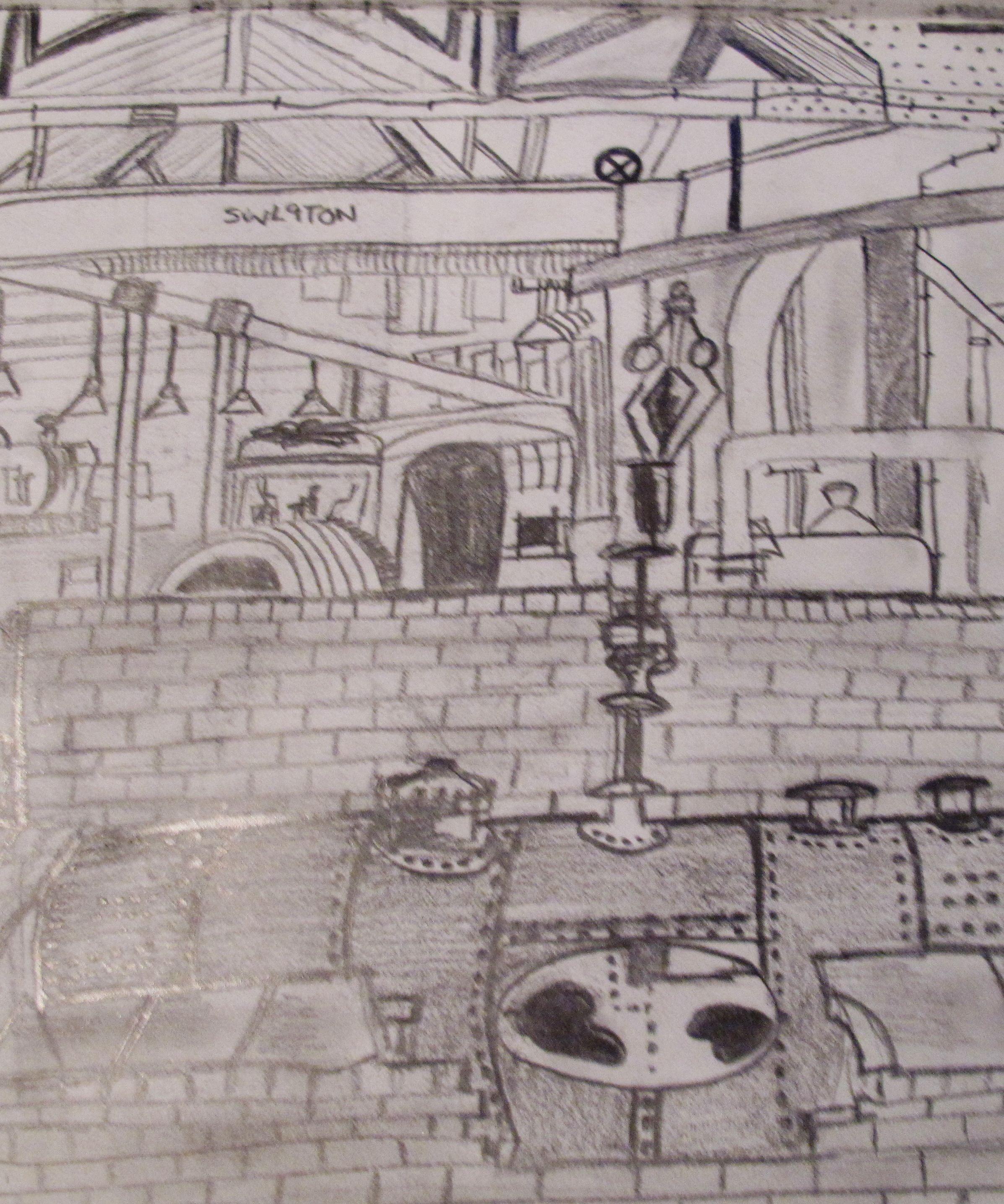 2394x2872 Sketchbook Work (Pencil Drawing Inside A Factory) My Portfolio
