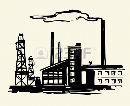 450x368 Two Factories On White Royalty Free Cliparts, Vectors, And Stock