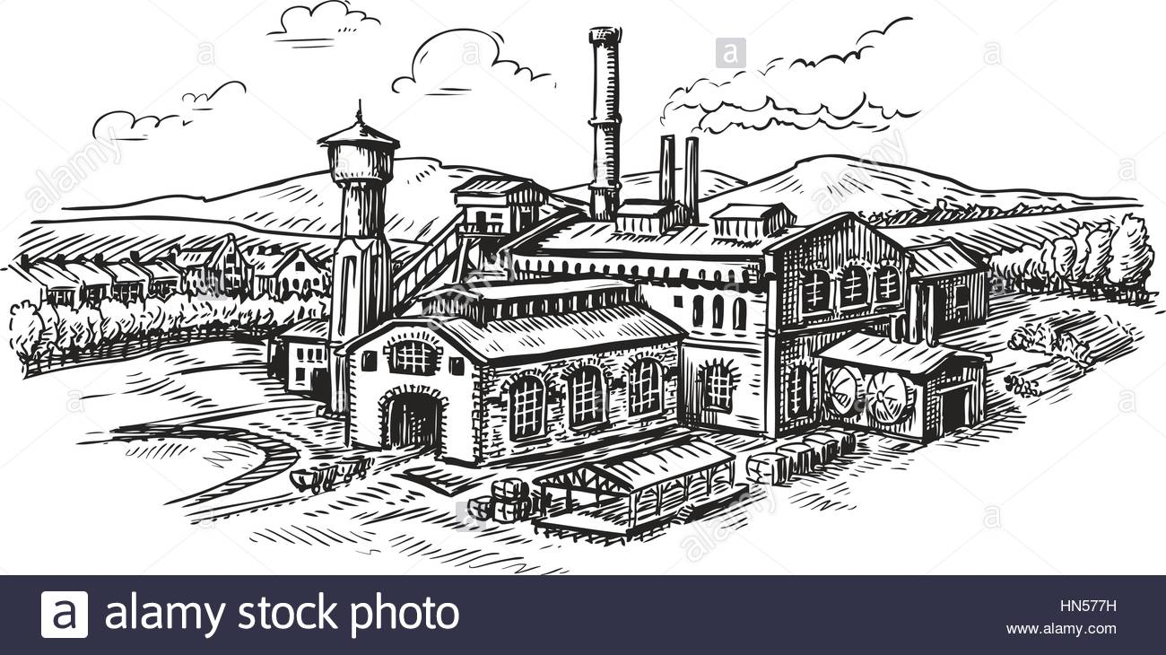 architecture building drawing. 1300x730 Industrial Plant, Factory Sketch. Vintage Building Vector Stock Architecture Drawing