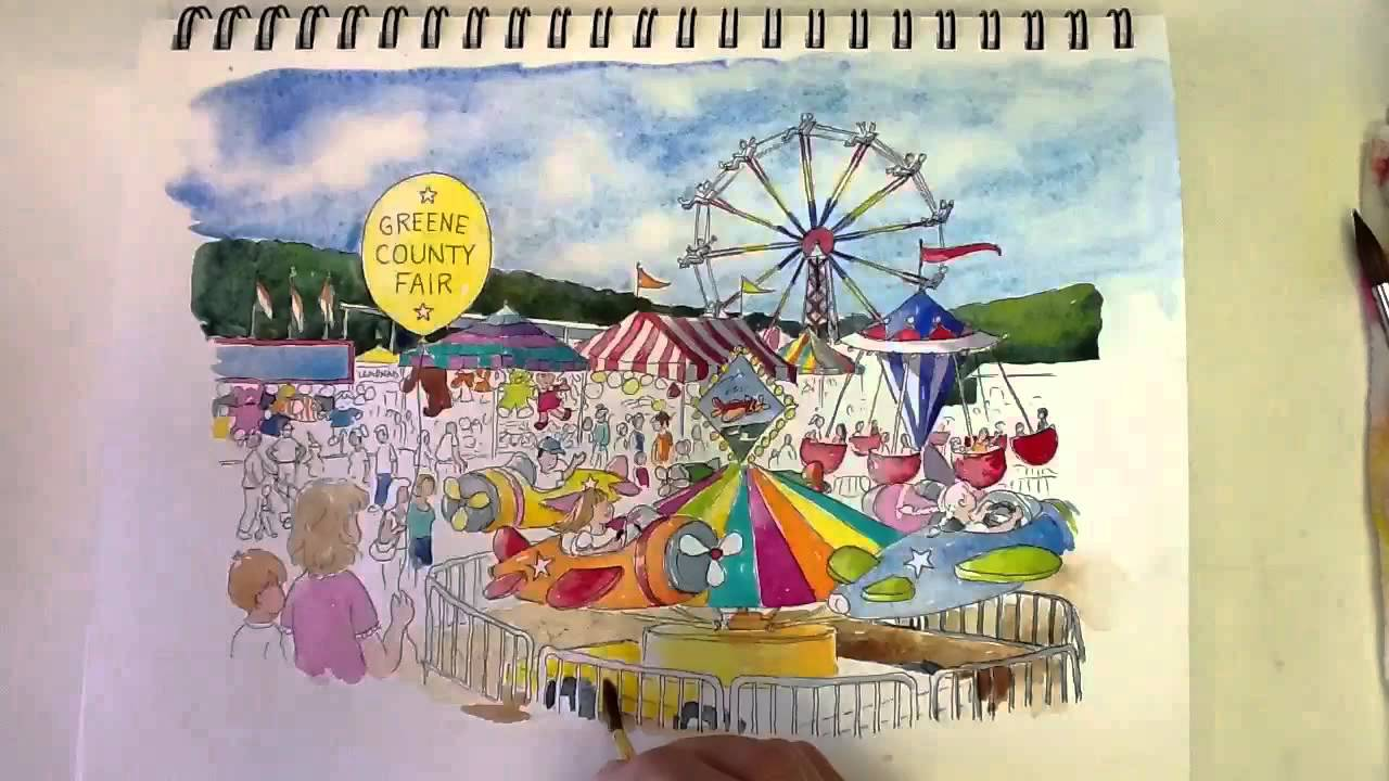 1280x720 Greene County Fair Time Lapse Watercolor Painting