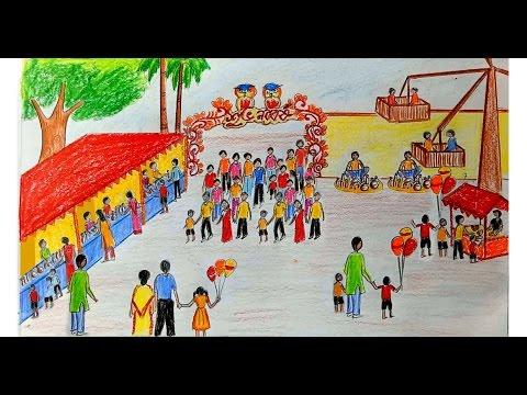 480x360 How To Draw Scenery Of Pohela Boishakh Village Fair Step By Step
