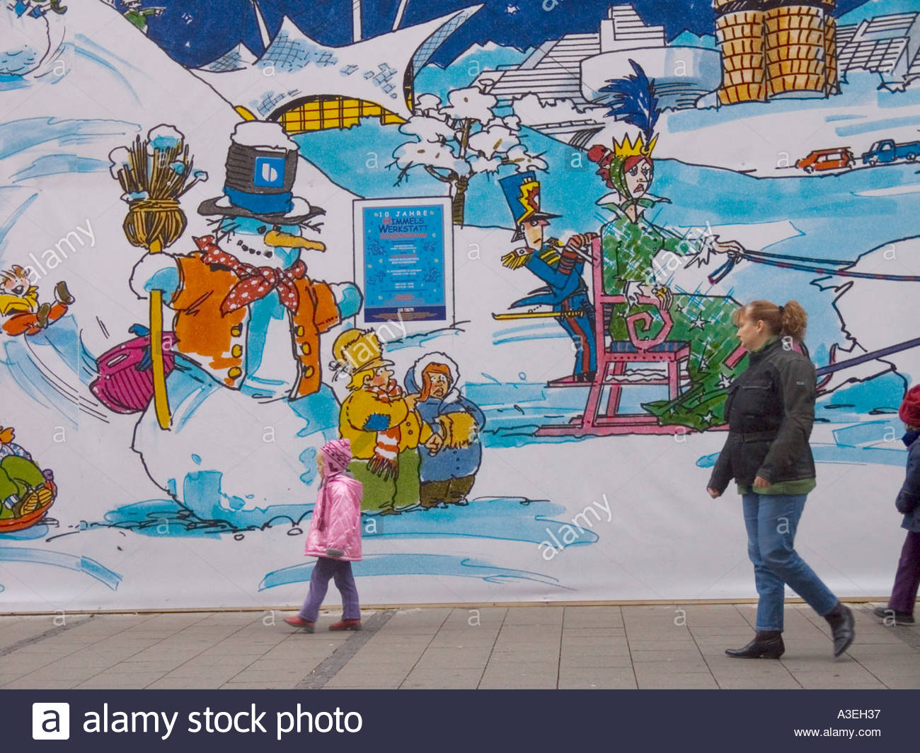 1300x1065 People Walking In Front Of The Mural Drawing Of Christmas Fair