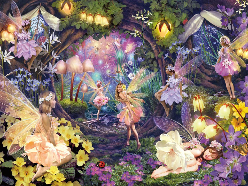 1024x768 Fairies In The Garden