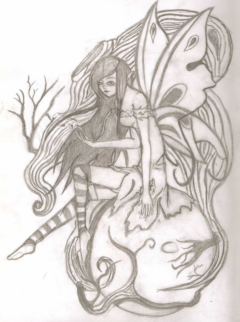 772x1036 Dark Fairy Pencil Sketch By Abandongoddessyakimi