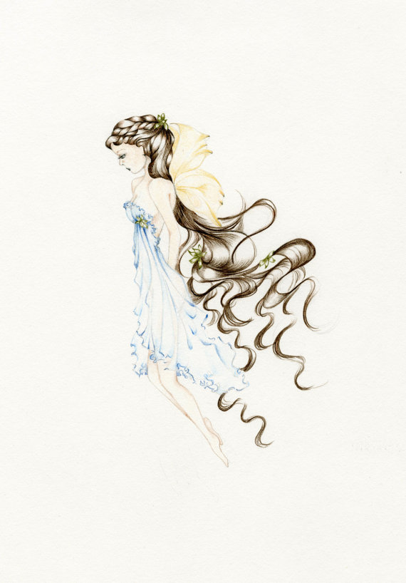 570x818 Fairy Art Pencil Drawing Illustration Giclee Print Of My Original