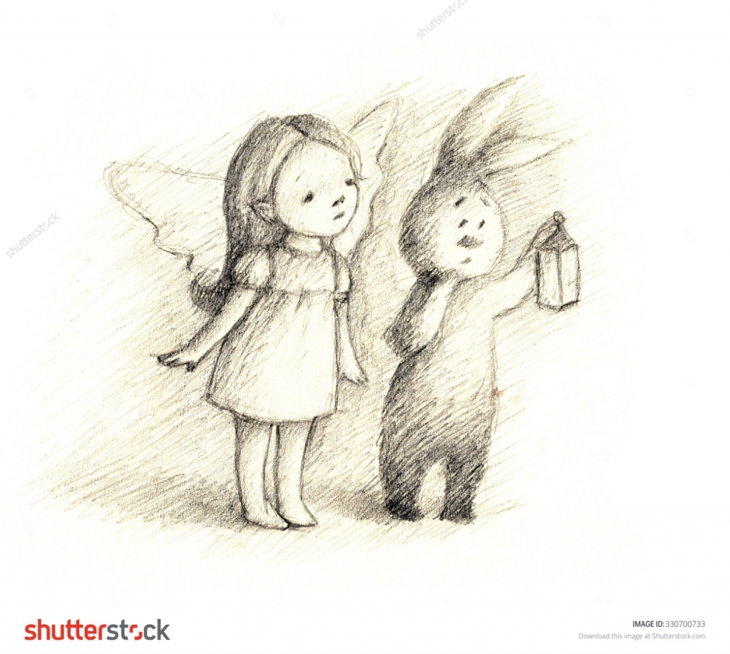 1024x917 Pencil Drawing Fairies Pencil Drawing Of Little Fairy And Bunny