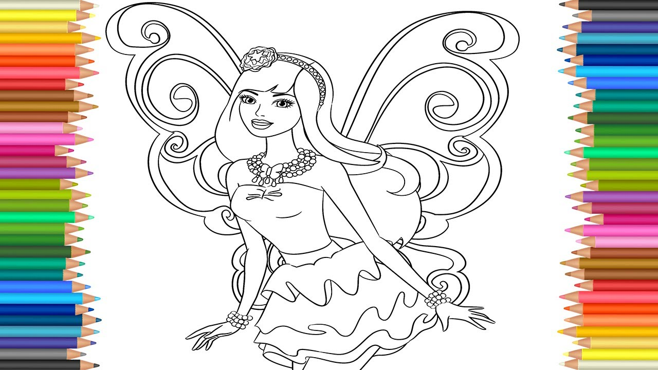1280x720 Barbie Fairy Princess Coloring Pages L Coloring Markers Videos