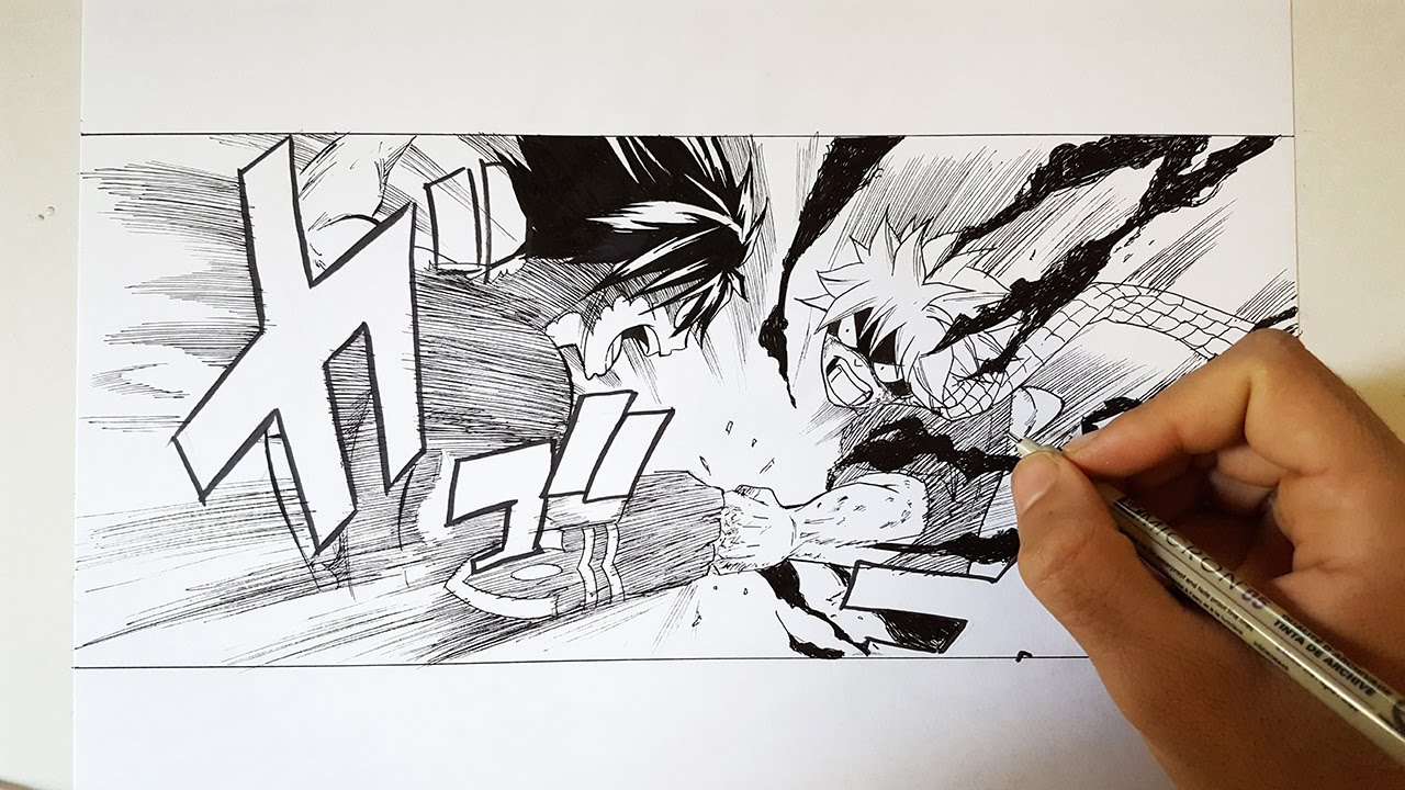 1280x720 Drawing Natsu Vs Gray From Fairy Tail (Manga Scene)