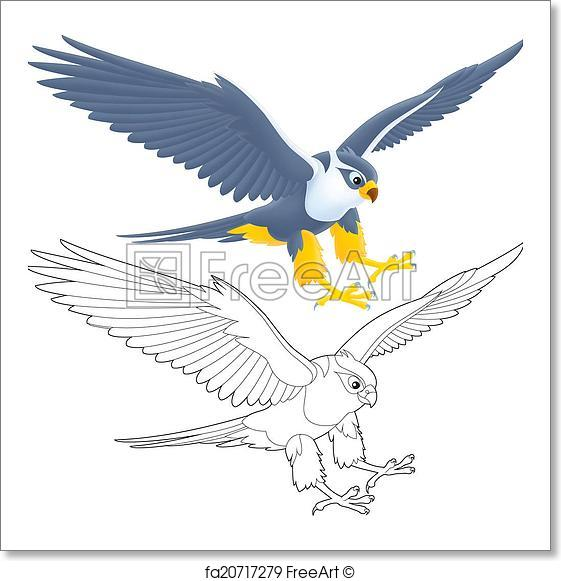 561x581 Free Art Print Of Falcon. Flying Falcon, Isolated Color Drawing