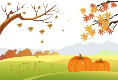 392x268 Autumn Drawing Design With Falling Leaves And Pumpkins Vectors
