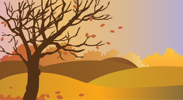 600x330 Autumn Scenery Drawing Illustration With Falling Leaves Free