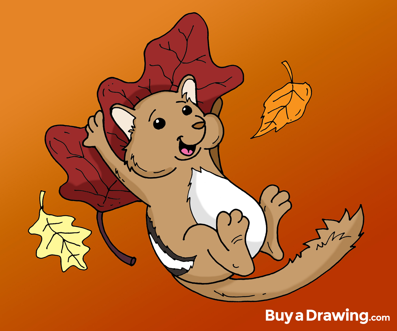 1500x1253 Cute Chipmunk With Fall Leaves Cartoon Drawing