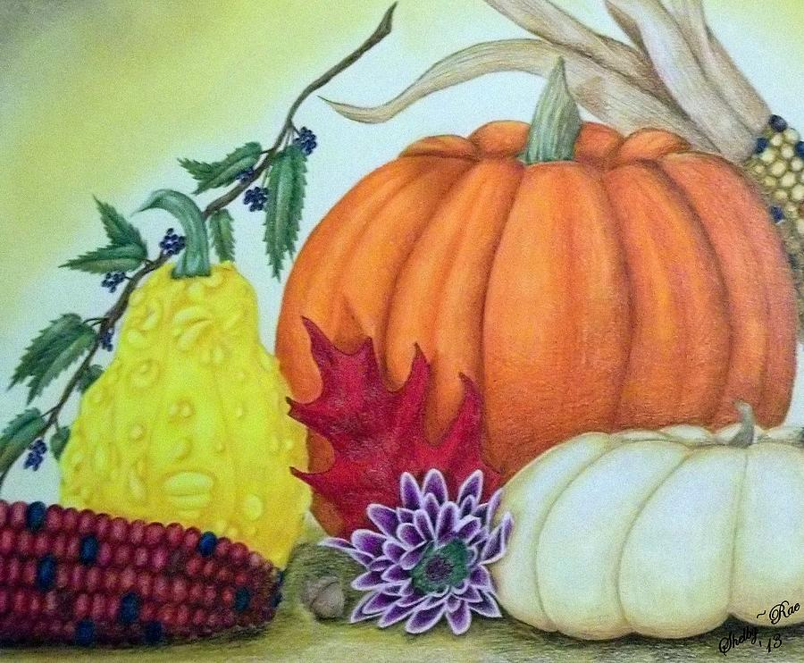 900x742 Fall Harvest Drawing By Shelby Edelman