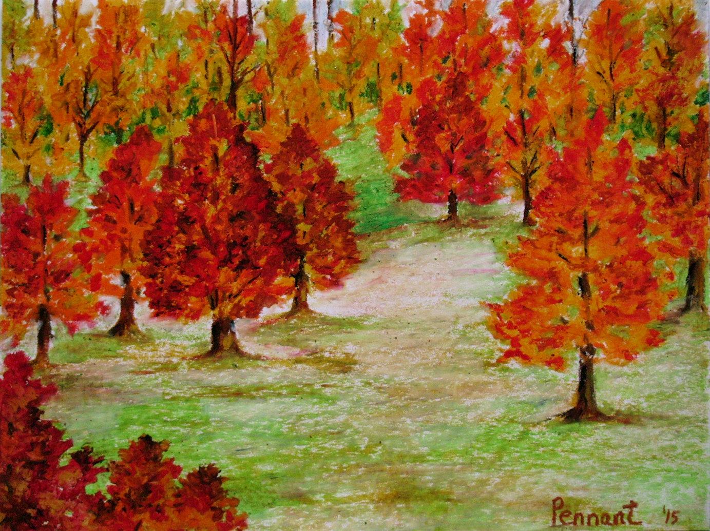 1383x1035 Autumn Landscape Small Drawing Original Oil Pastel Art Wall