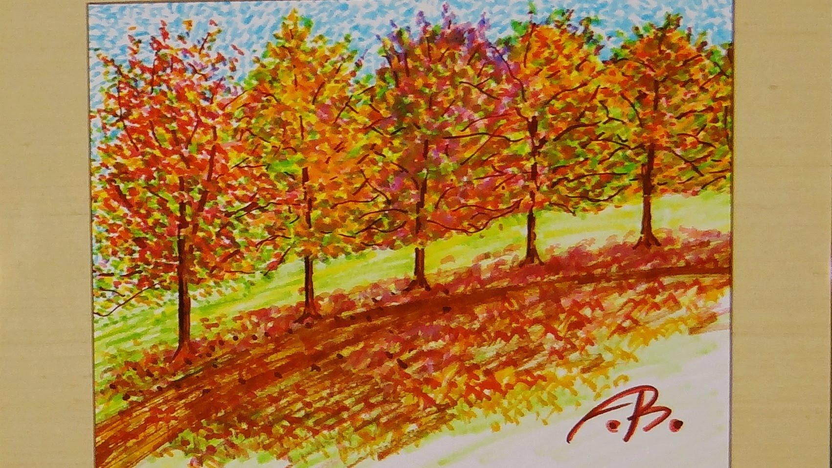 1701x957 Marker Art Fall Foliage Line Of Trees