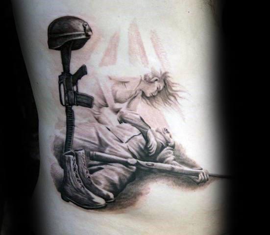 551x480 50 Fallen Soldier Tattoo Designs For Men