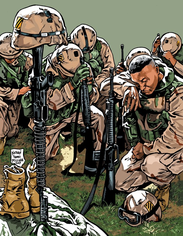 600x773 Soldiers Pray For The Fallen By Malevolentnate