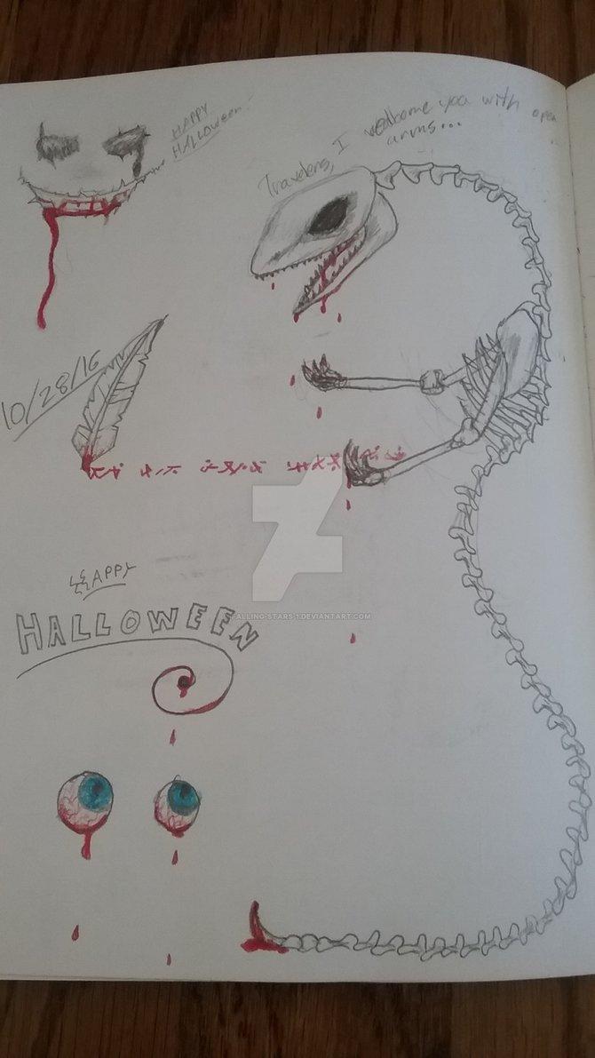 670x1191 Creepy Halloween Drawings By Falling Stars 1
