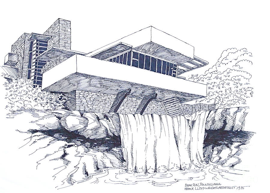 Line Drawing Of Your House : Falling water drawing at getdrawings free for personal use