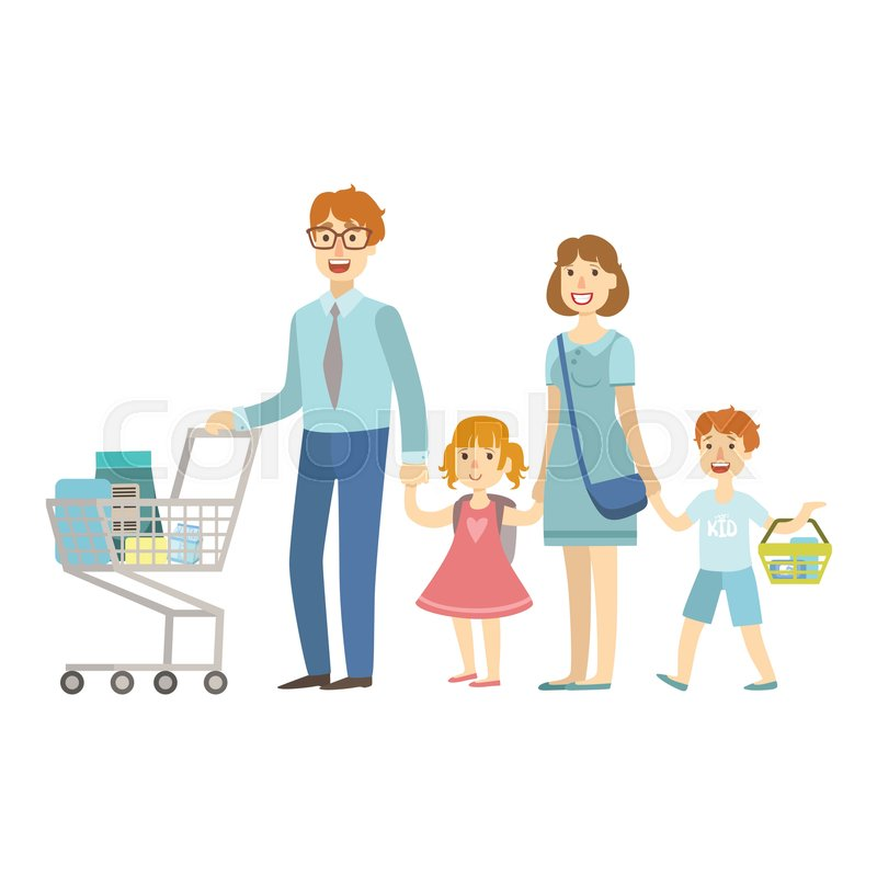 800x800 Family Of Four Members Shopping In Supermarket, Illustration
