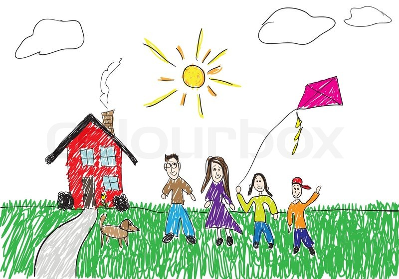 800x560 A Childish Drawing Of A Family Standing In Front Of Their Homethis