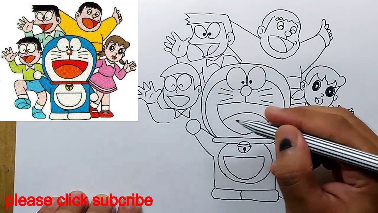1280x720 How To Draw Doraemon Family Easy