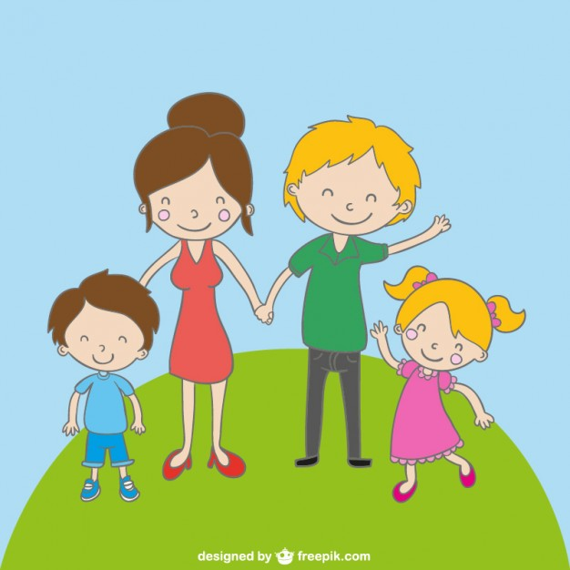 626x626 Family Cartoon Drawing Vector Free Download