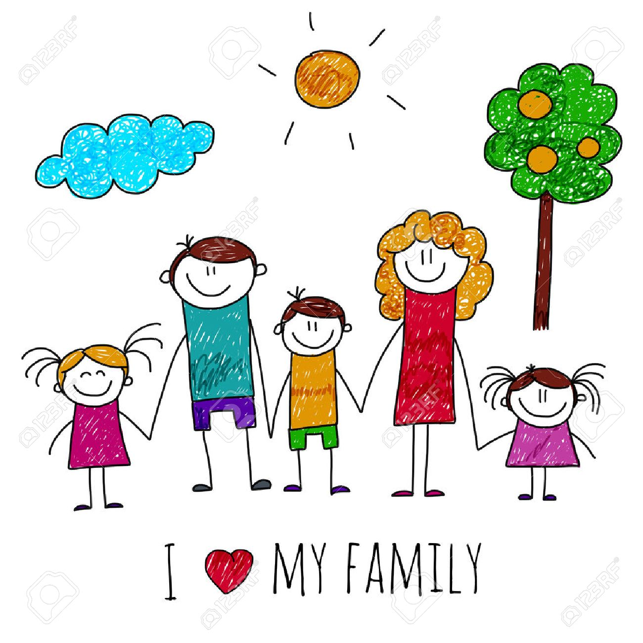 1300x1300 Image Of Big Happy Family. Kids Drawing Royalty Free Cliparts